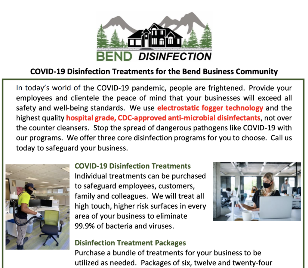 Bend Chamber Member discounts on CDC-Approved Disinfection Services