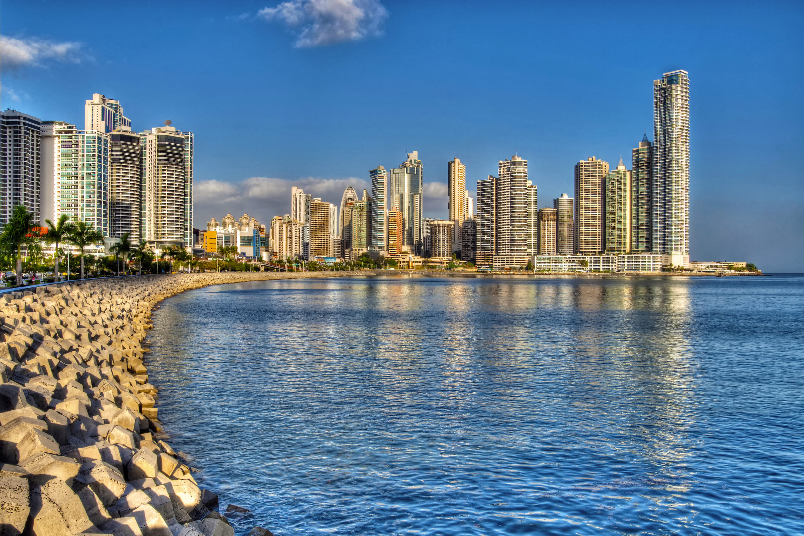 Panama City skyline and the Panama Bay